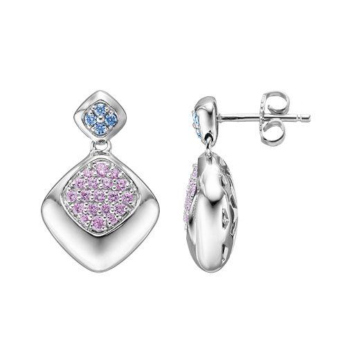 Lotopia Purple & Blue Cubic Zirconia Sterling Silver Diamond-Shaped Drop Earrings