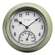 AcuRite 8.5' Distressed Indoor / Outdoor Wall Clock & Thermometer