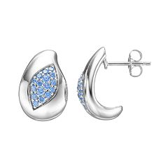 Lotopia Blue Cubic Zirconia Sterling Silver Marquise J-Hoop Earrings