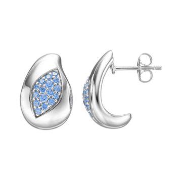 Lotopia Blue Cubic Zirconia Sterling Silver Marquise J-Hoop Earrings