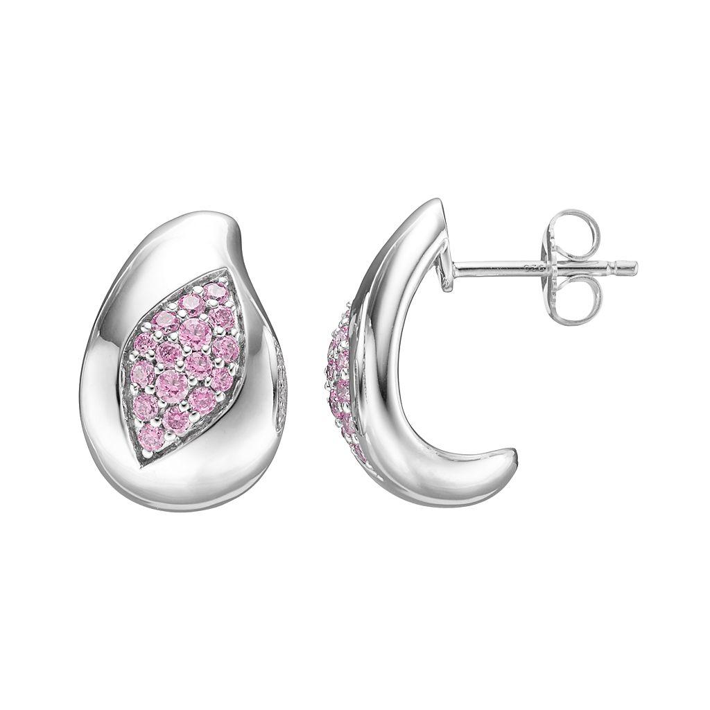 Lotopia Pink Cubic Zirconia Sterling Silver Marquise J-Hoop Earrings