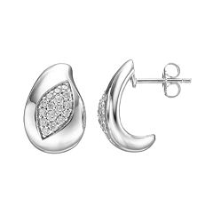 Lotopia Cubic Zirconia Sterling Silver Marquise J-Hoop Earrings