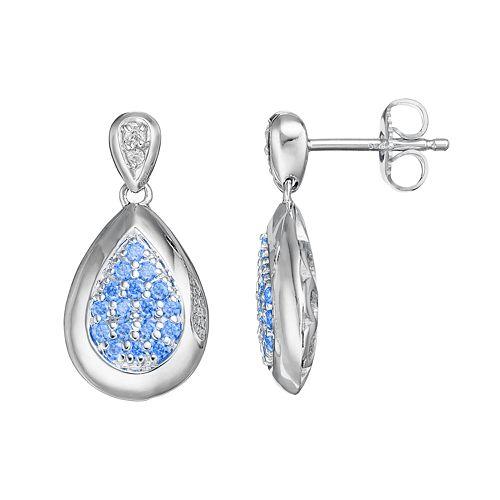 Lotopia Blue & White Cubic Zirconia Sterling Silver Teardrop Earrings