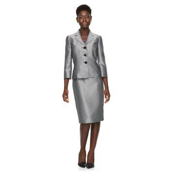 Women's Le Suit Herringbone Suit Jacket & Pencil Skirt Set