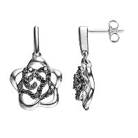 Lotopia Black Cubic Zirconia Sterling Silver Flower Earrings