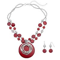 Red Composite Shell Beaded Necklace & Drop Earring Set