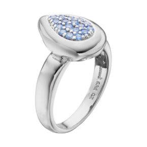 Lotopia Blue Cubic Zirconia Sterling Silver Teardrop Ring