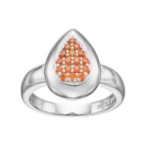 Lotopia Orange Cubic Zirconia Sterling Silver Teardrop Ring