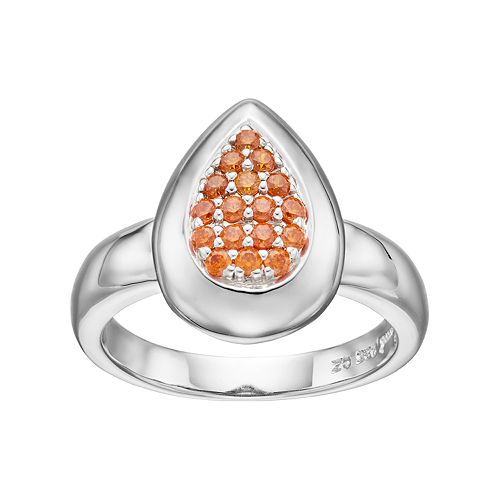 Lotopia Orange Cubic Zirconia Sterling Silver Teardrop Ring