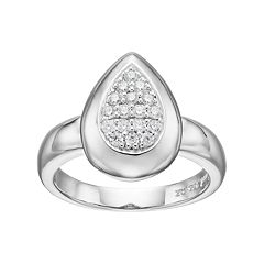 Lotopia Cubic Zirconia Sterling Silver Teardrop Ring