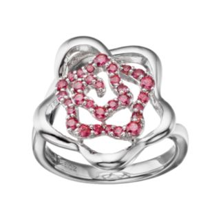 Lotopia Red Cubic Zirconia Sterling Silver Flower Ring