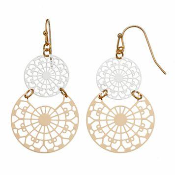 Two Tone Openwork Disc Drop Earrings