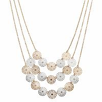 Two Tone Openwork Disc Layered Necklace