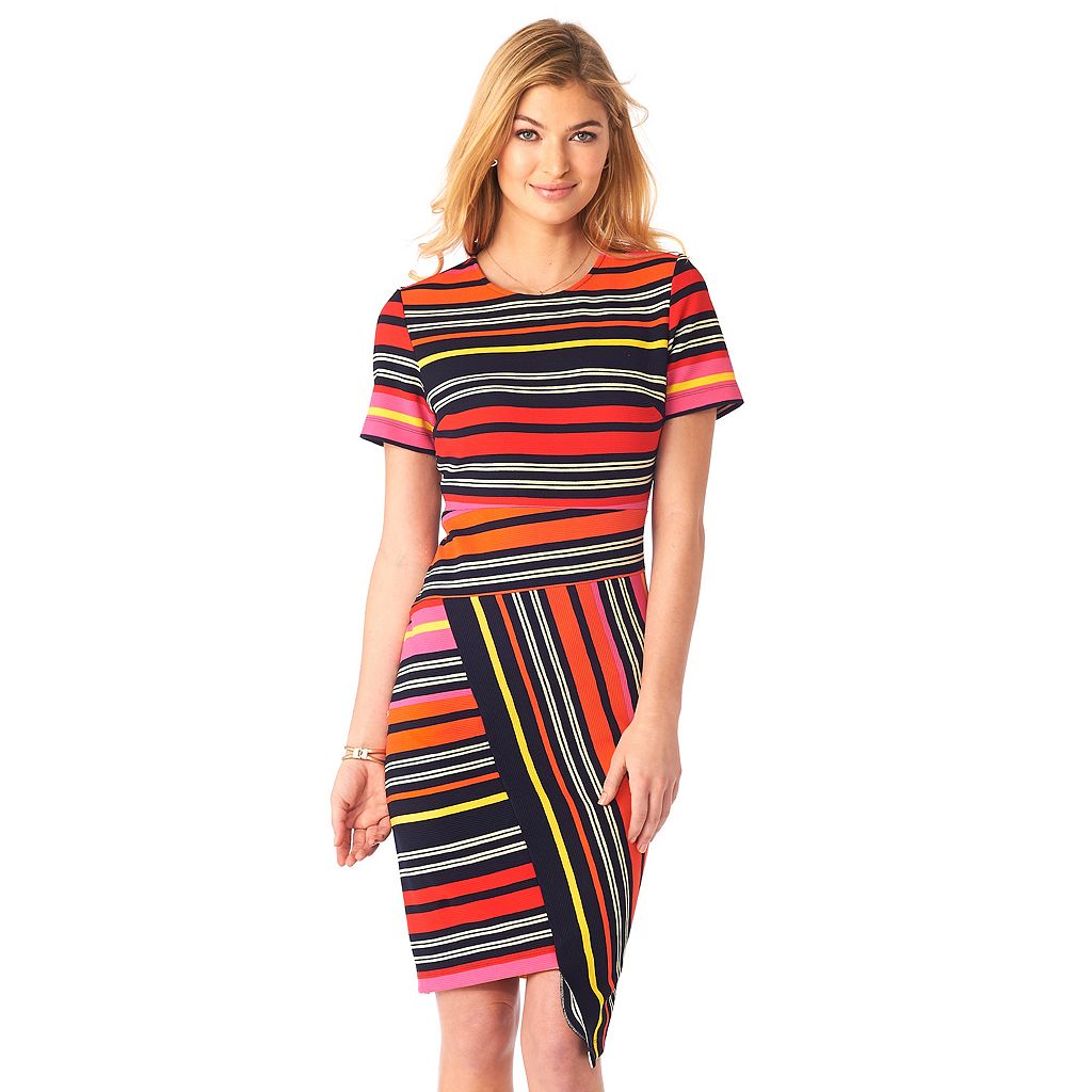 Women's Indication by ECI Striped Asymmetrical Sheath Dress