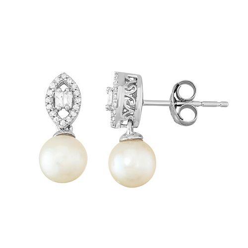 Simply Vera Vera Wang Freshwater Cultured Pearl & 1/10 Carat T.W. Diamond Sterling Silver Drop Earrings