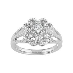Simply Vera Vera Wang 1/4 Carat T.W. Diamond Sterling Silver Flower Ring