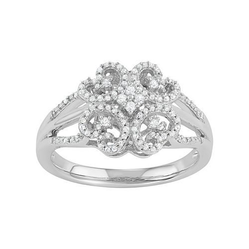 Simply Vera Vera Wang 1/4 Carat T.W. Diamond Sterling Silver Flower Ring