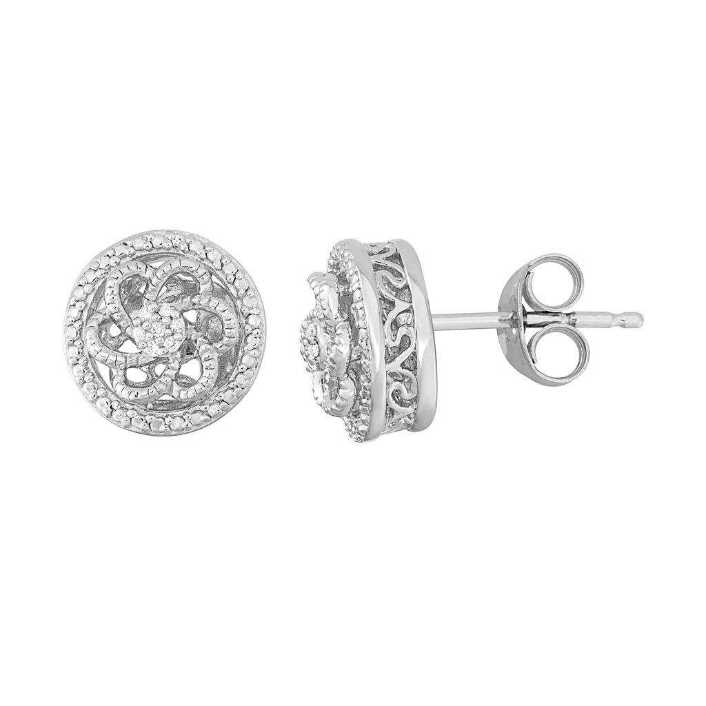 Simply Vera Vera Wang Diamond Accent Sterling Silver Flower Swirl Stud Earrings