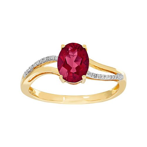 10k Gold Garnet & Diamond Accent Oval Ring