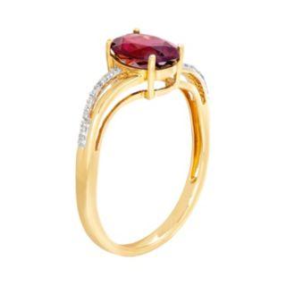 10k Gold Garnet & Diamond Accent Oval Ring