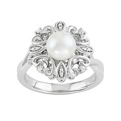 Simply Vera Vera Wang Freshwater Cultured Pearl & 1/10 Carat T.W. Diamond Sterling Silver Flower Ring