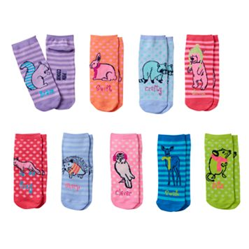 Girls Pink Cookie 9-pk. Critter Low-Cut Socks