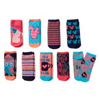 "Girls Pink Cookie 9-pk. Neon ""Let's Snuggle"" Low-Cut Socks"