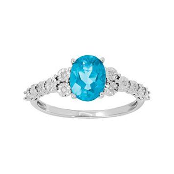 10k White Gold Aquamarine & Diamond Accent Oval Ring