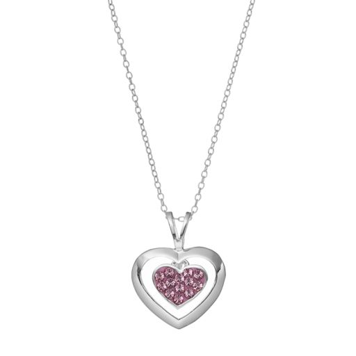 Charming Girl Kids' Sterling Silver Crystal Heart Pendant Necklace