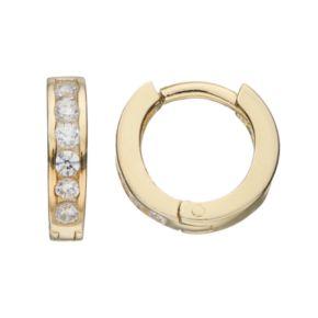 Charming Girl Kids' 14k Gold Over Silver Cubic Zirconia Huggie Hoop Earrings