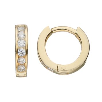 Charming Girl Kids' 14k Gold Over Silver Cubic Zirconia Huggie Hoop Earrings