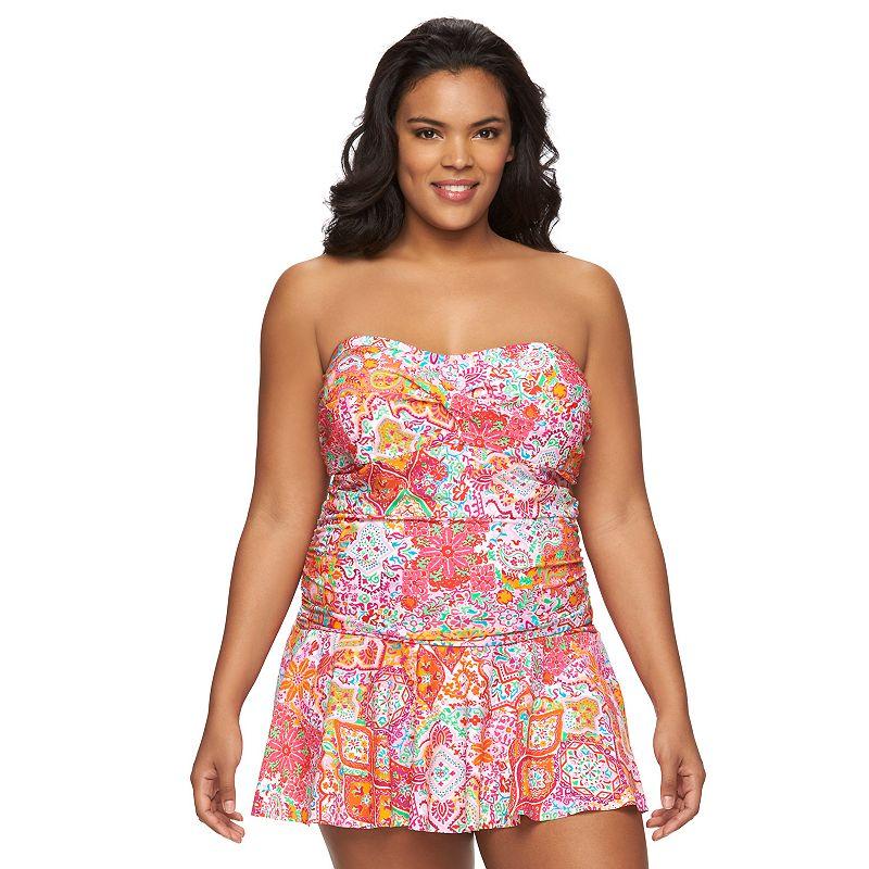Plus Size Chaps Tummy Slimmer Printed Swimdress