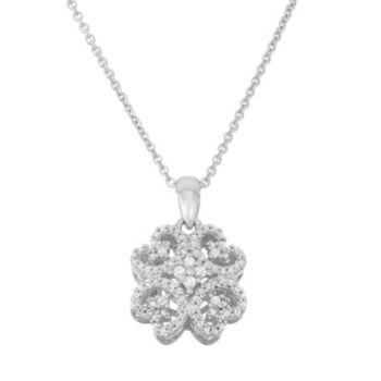 Simply Vera Vera Wang Sterling Silver 1/4 Carat T.W. Diamond Flower Pendant Necklace