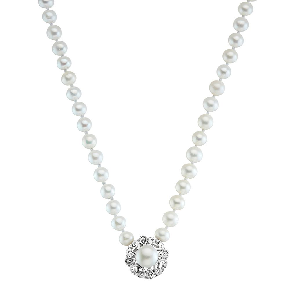 Simply Vera Vera Wang Freshwater Cultured Pearl & Diamond Accent Sterling Silver Necklace