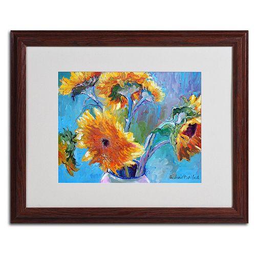 Trademark Fine Art Sunflower 5 Wood Framed Wall Art