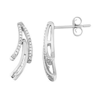 10k White Gold 1/6 Carat T.W. Diamond Curved Bar Stud Earrings