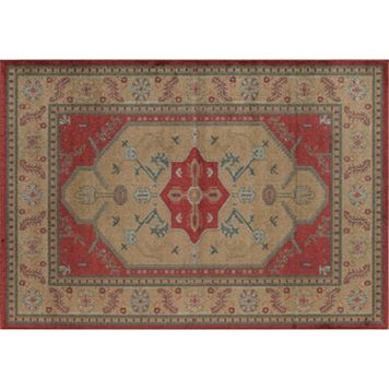 Rugs America Ziegler Framed Tribal Gold Rug