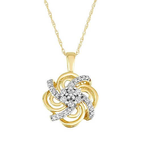10k Gold 1/4 Carat T.W. Diamond Flower Pendant Necklace