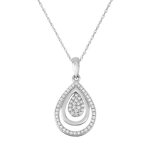 10k White Gold 1/5 Carat T.W. Diamond Teardrop Pendant Necklace