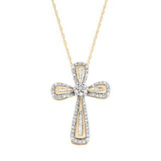 10k Gold 1/4 Carat T.W. Diamond Cross Pendant Necklace