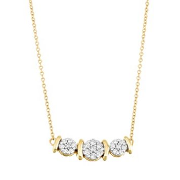 10k Gold 1/3 Carat T.W. Diamond Cluster Necklace