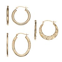 Forever 14K Oval & Textured Hoop Earring Set