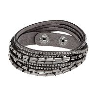 Simulated Crystal Gray Wrap Bracelet