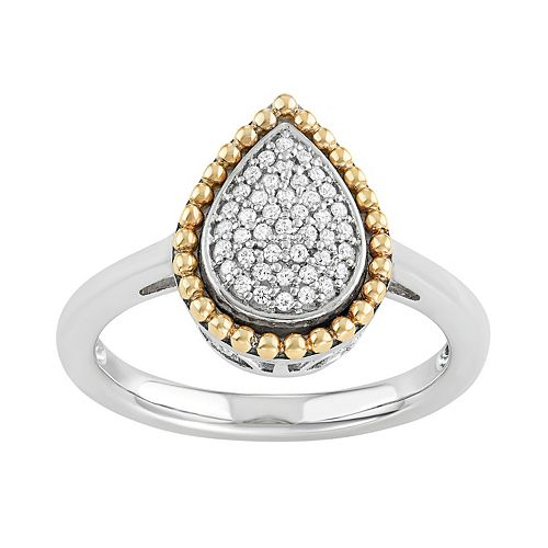Two Tone Sterling Silver 1/5 Carat T.W. Diamond Teardrop Halo Ring