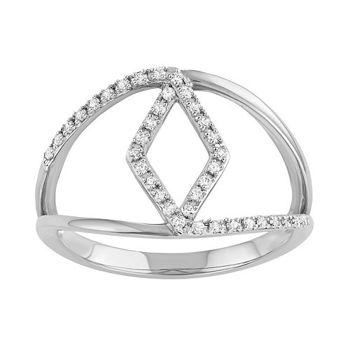 Sterling Silver 1/5 Carat T.W. Diamond Rhombus Ring