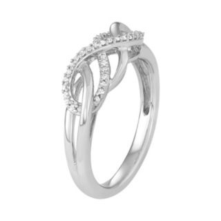 Sterling Silver 1/10 Carat T.W. Diamond Woven Ring