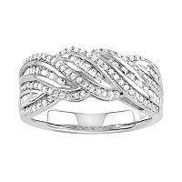 Sterling Silver 1/2 Carat T.W. Diamond Twist Multi Row Ring