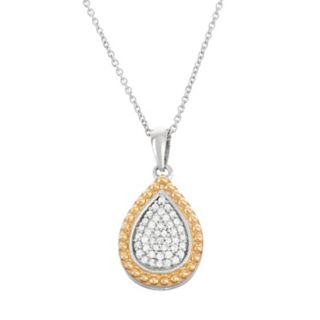 Two Tone Sterling Silver 1/5 Carat T.W. Diamond Teardrop Halo Pendant Necklace