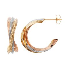 Forever 14K Tri-Tone Crisscross Semi-Hoop Earrings
