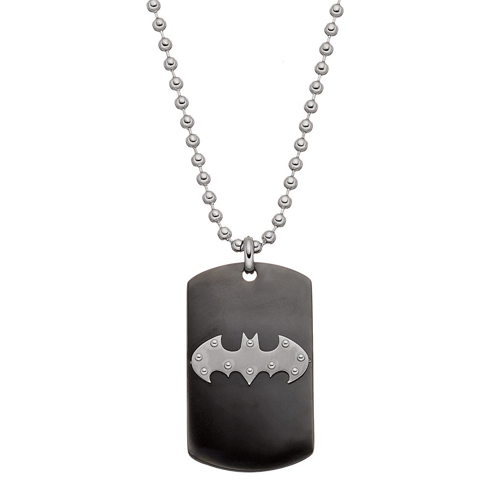 Men's Stainless Steel Batman Logo Dog Tag Necklace